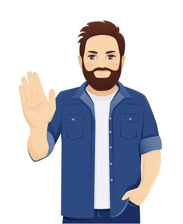 Serious determined bearded man showes stop gesture with his hand isolated vector illustration Çizim