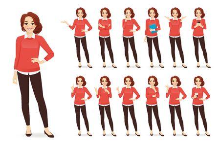 Carattere di donna d'affari casual in diverse pose con illustrazione vettoriale di capelli rossi