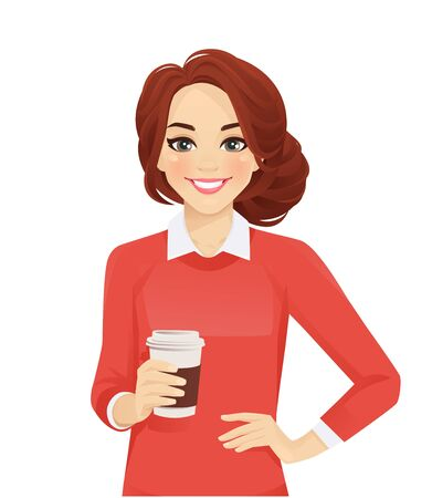 Casual business woman with coffee cup isolated vector illustration 일러스트
