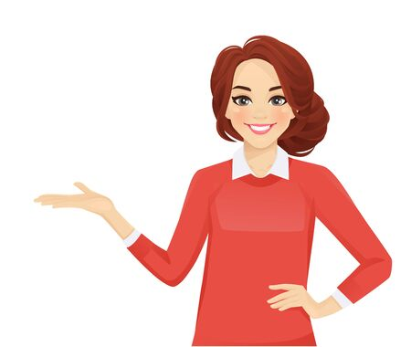 Casual business woman showing isolated vector illustration