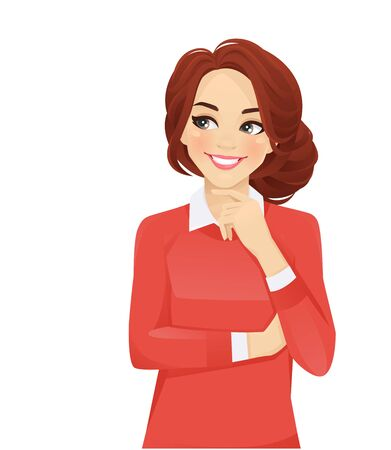 Mujer de pensamiento de negocios casual mirando a otro lado aislado ilustración vectorial