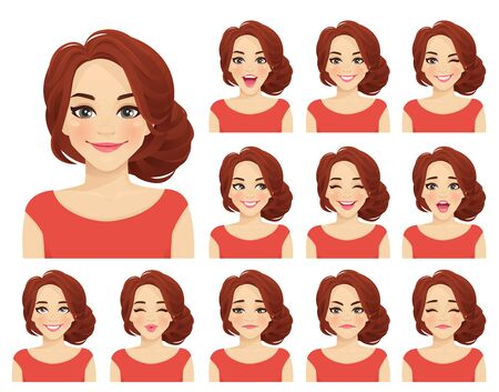 Beautiful woman with different facial expressions set isolated vector illustration