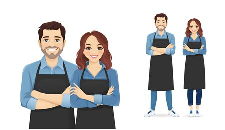 Smiling young man and woman in black aprons standing isolated vector illustration Ilustração