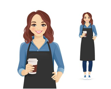 Waitress or barista. Smiling woman in black apron holding coffee cup isolated vector illustration