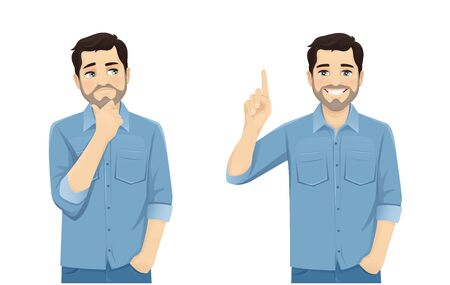 Handsome man in casual clothes thinking looking away and making idea pointing up isolated on white background vector illustration Ilustração