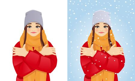 Beautiful woman in winter clothes feeling cold isolated