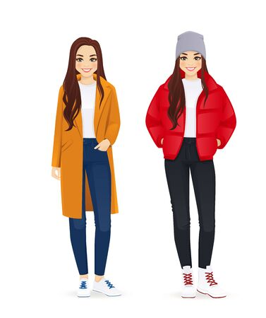 Young beautiful woman in winter autumn clothes isolated vector illustration 向量圖像