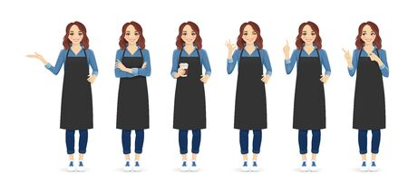 Smiling woman in apron standing with different gestures isolated vector illustration