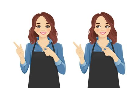 Smiling woman in apron pointing away isolated vector illustration