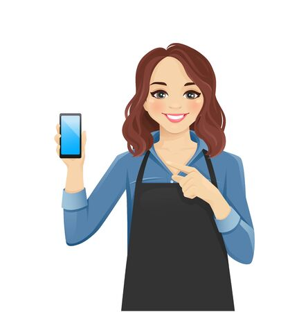Smiling woman in apron showing blank screen phone isolated vector illustration