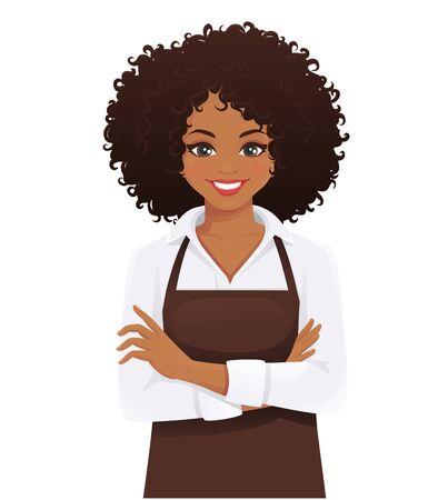 Mujer sonriente en delantal de pie con los brazos cruzados aislados ilustración vectorial Ilustración de vector