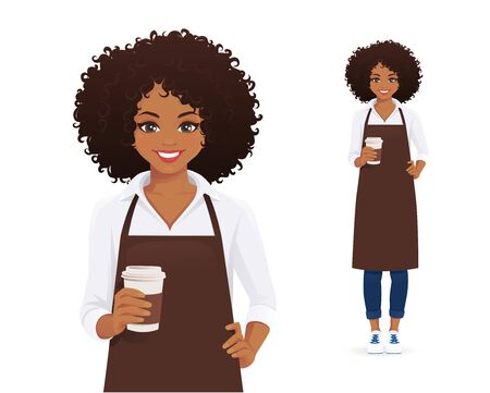 Waitress or barista. Smiling woman with afro hairstyle in black apron holding coffee cup isolated vector illustration
