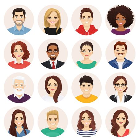 Smiling people avatar set. Different men and women characters collection. Isolated vector illustration. Vector Illustration