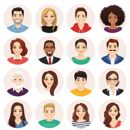 Uśmiechający się zestaw avatarów ludzi. Kolekcja różnych postaci mężczyzn i kobiet. Ilustracja na białym tle wektor. Ilustracje wektorowe
