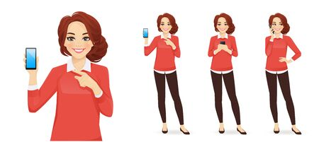 Casual business woman with mobile phone isolated vector illustration