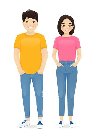 Young asian people in casual clothes. Smiling man and girl isolated vector illustration