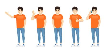 Young asian man in casual clothes standing with different gestures set isolated vector illustration