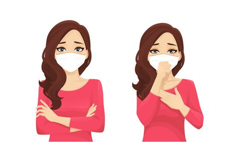 Sad beautiful woman wearing protective mask as protection against transmissible infectious diseases and air pollution. Isolated vector illustration