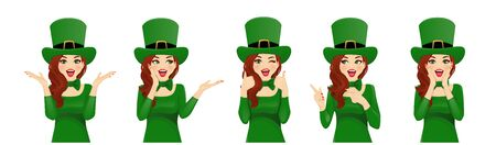 Surprised St Patrick Day beautiful woman in leprechaun party hat costume. Isolated vector illustration
