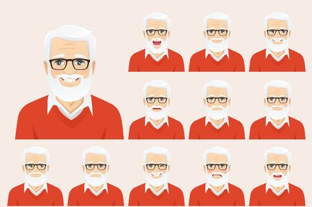 Handsome senior man with different facial expressions set vector illustration isolated Ilustração