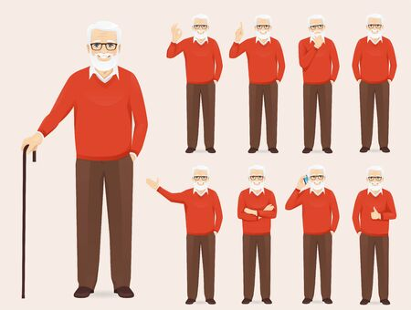 Handsome senior man in casual outfit set with different gestures isolated vector illustration 向量圖像