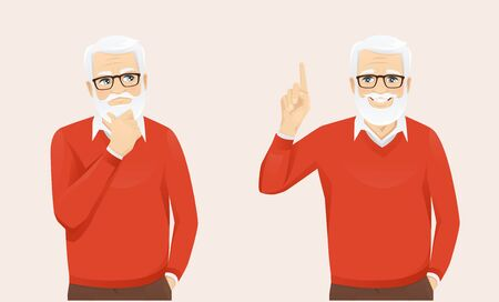 Handsome senior man in casual clothes thinking looking away and making idea pointing up vector illustration