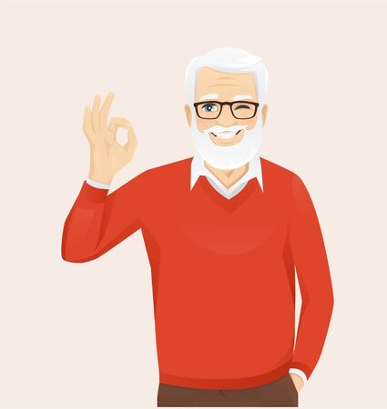 Handsome senior man in casual clothes gesturing ok sign vector illustration 向量圖像