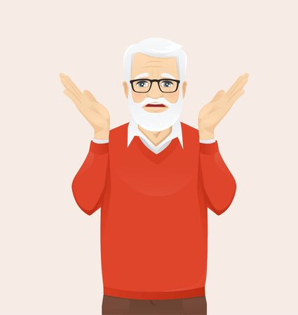 Frustrated senior man expression gesture with hands isolated vector illustration