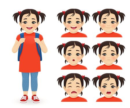 School asian girl with backpack emotions set isolated vector illustration Ilustração