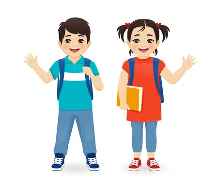Smiling school asian boy and girl with backpack waving hand isolated vector illustration