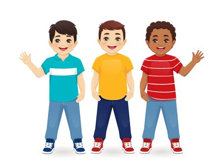 Multiethnic boy friends. Three different male kid faces. Asian, african and caucasian standing isolated vector illustration