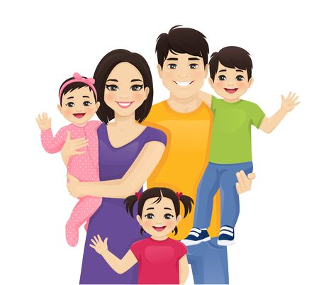 Parents with newborn baby, toddler boy and girl vector illustration isolated. Happy asian family portrait. Mother, father, daughter, son.