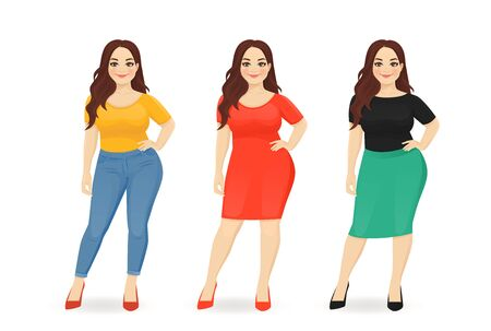 Young happy beautiful plus size woman dressed in different casual business style clothes set isolated vector illustration Ilustração