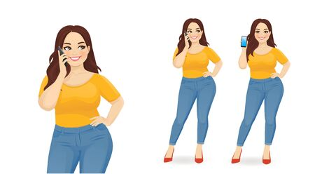 Young happy beautiful plus size woman with mobile phone isolated vector illustration