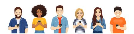Multiethnic beautiful young people in casual clothes with gadgets. Asian, african and caucasian students use mobile phones isolated vector illustration