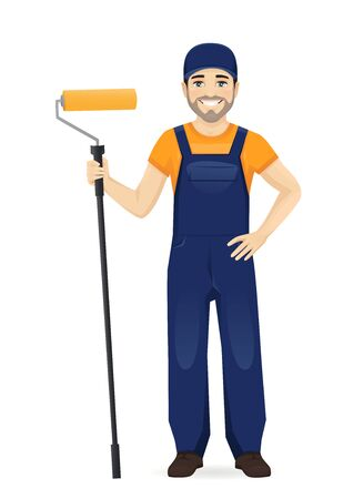 Man in blue overalls painter with roller isolated vector illustration