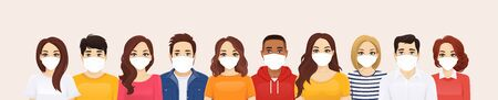 Group of people wearing protective medical mask as protection against transmissible infectious diseases, flu and air pollution vector illustration Imagens - 143733713