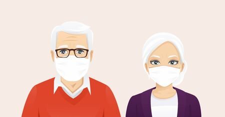 Senior man and woman wearing protective medical mask as protection against transmissible infectious diseases, flu and air pollution vector illustration