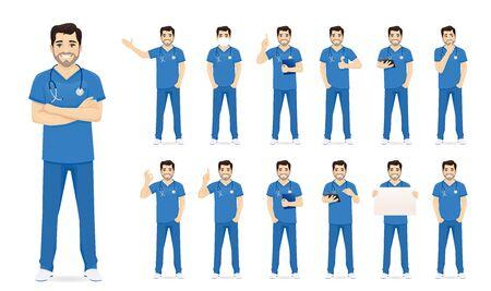 Männliche Krankenschwester Zeichensatz in verschiedenen Posen isolierte Vektorillustration