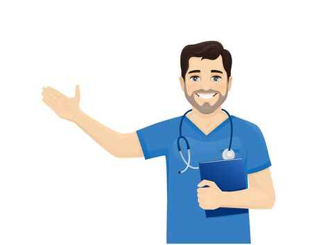 Male nurse character presenting something isolated vector illustartion  イラスト・ベクター素材