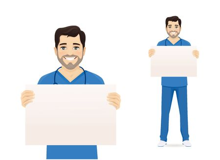 Male nurse character holding empty blank board isolated vector illustration