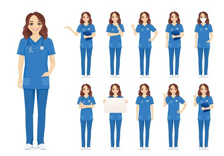 Female woman nurse character set in different poses isolated vector illustartion Imagens - 145295494