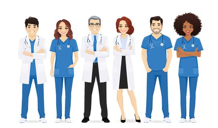 Multiethnic doctor team group set isolated