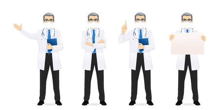 Male doctor set in different poses wearing protective medical mask isolated