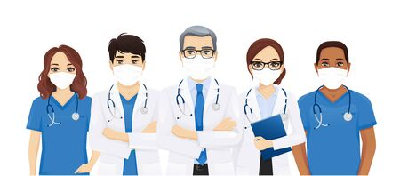 Multi ethnic doctor team group with leader wearing protective medical mask isolated illustration Ilustração