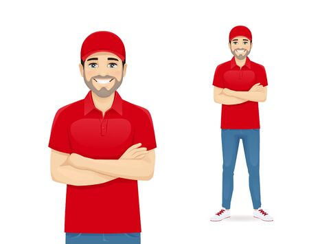Handsome delvery man in red uniform standing with arms crossed isolated vector illustration Ilustração
