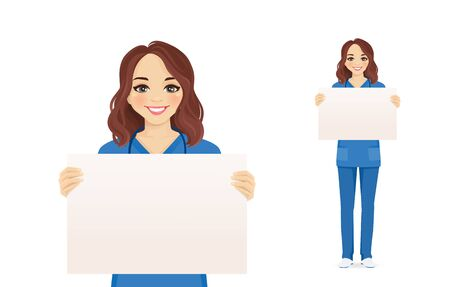 Female nurse character holding empty blank board isolated vector illustration