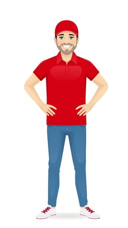 Handsome delivery man in red uniform standing full lenght isolated vector illustration