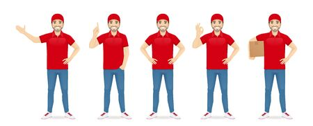 Handsome delivery man in red uniform standing in different poses set isolated vector illustration