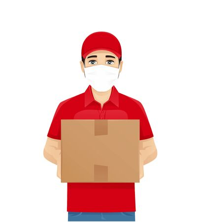 Handsome delivery man in red uniform with box wearing protective medical mask isolated vector illustration